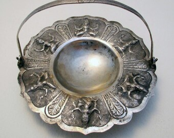 Indian Madras Antique (c1890) Low Grade Silver/White Metal Footed Dish/Bowl/Basket with a Swing Handle. Hindu Deities.