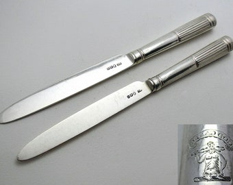 Pair 1802 Antique Georgian/George III Sterling Silver Table/Dinner Knives, Moses Brent, Dread God motto.