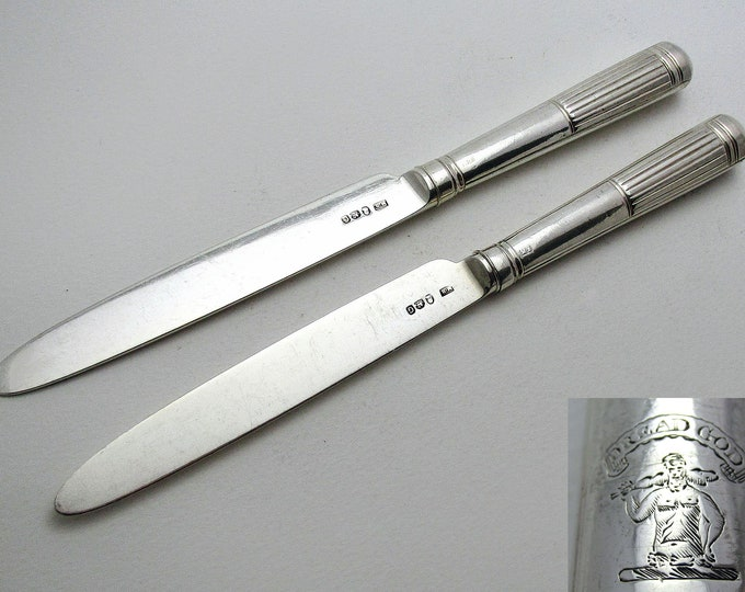 Pair (1802) Antique Georgian/George III Sterling Silver Table/Dinner Knives, Moses Brent, Dread God motto.