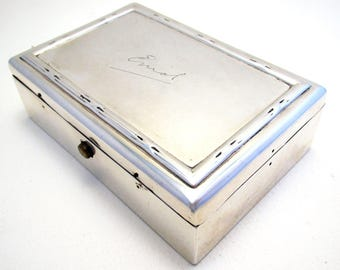 Rare Antique (1902) Edwardian Solid Sterling Silver Hallmarked Coin Sovereign Stationery Pen Box Case. William Comyns & Sons
