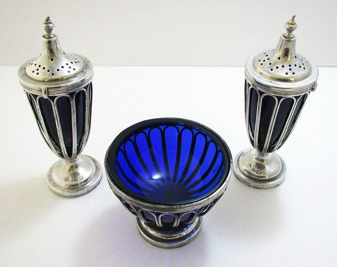 Antique English Edwardian (1911) Solid Sterling Silver & Bristol Blue Glass Salt Cellar Pepper Shaker Pots Cruet Set.