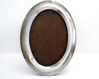 Antique 1915 OVAL Solid Sterling Silver & Wood Picture Photo Frame WWI English (no glass)