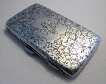 Pretty Victorian (1899) Solid Sterling Silver Coin Stamp Card Aide Memoire Antique Purse/Wallet/Case Birmingham Hallmarked Late 19th-century