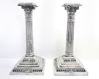Pair of Antique (1906) Solid Sterling Silver Corinthian Column Candle holder Candlesticks. English Victorian style, Sheffield Hallmarked.