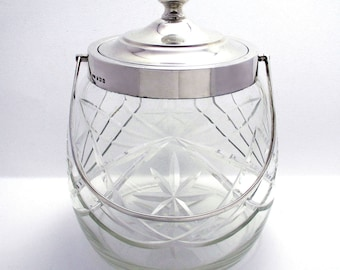 Hallmarked 1927 Solid Sterling Silver Mounted & Cut Glass Biscuit Barrel Cookie Jar Box Container