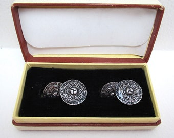Pair of VINTAGE 1954 Solid Sterling SILVER Button Gents Cufflinks, Birmingham Hallmarked. St. Andrews, with Case. Mid 20th-Century.