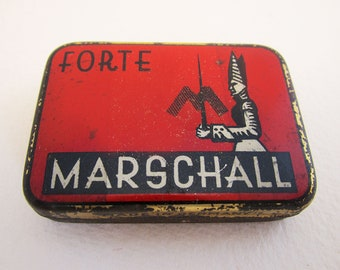 German Marschall Forte Gramophone Needle Metal Tin Case Box. RED. Early 20th-Century. Antique/Vintage.