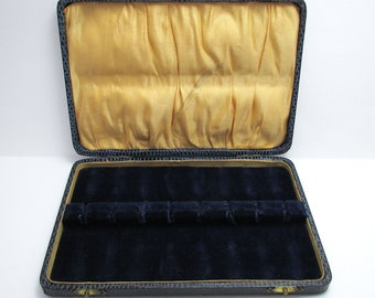 Victorian Empty Antique Case/Box for 8 Silver Spoons, Sugar Tongs, BLUE