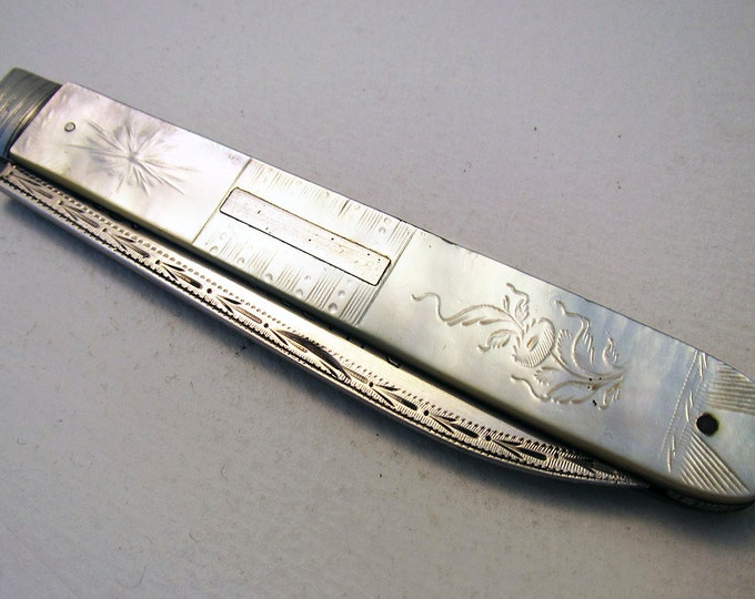 Featured listing image: Large Georgian (1825) Solid Sterling Silver & Mother of Pearl MOP Antique English Sheffield Folding Pocket Fruit Pen Knife Penknife