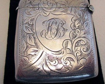 Large (30g) EDWARDIAN Antique Solid Sterling Silver English Vesta/Match Striker Case Box. Birmingham Hallmarked.