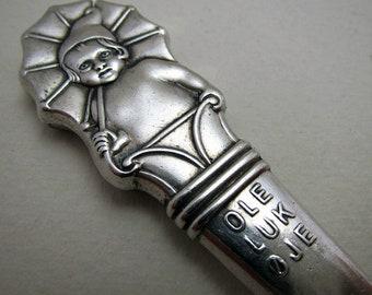 Hans Christian Andersen - Ole Lukøje Ole-Luk-Oie Fairy Tales Children Story Novelty Solid Silver 830 Cutlery Knife. Danish/Denmark.