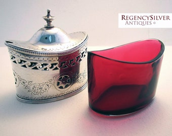 Large Georgian (1785) Solid Sterling Silver Antique Hallmarked Mustard Pot with Cranberry Glass Liner. Rare 18th-century George III.