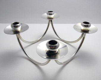 Danish (c1960) RETRO Silver Plated 4-armed Candelabra Table Candle Holder Candlestick, BERG Denmark.