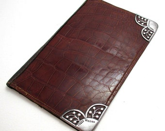 Large Victorian (1901) Solid Sterling Silver Mounted Crocodile Skin Leather Antique Wallet Purse Name Note Card Stamp Case.