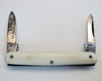 Antique Victorian (c1890) 'Eye' Witness Sheffield Double Folding Pocket Quill Cutter Pen Fruit Knife Penknife Pencil Sharpener.