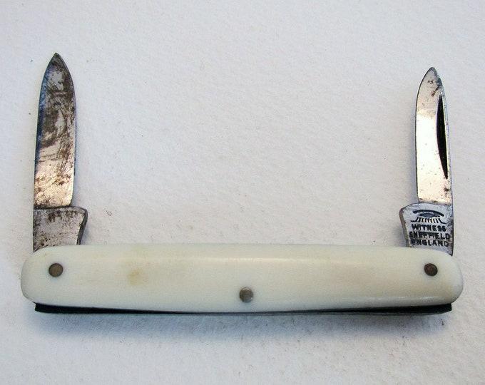 Antique Victorian (c1890) 'Eye' Witness Sheffield Double Folding Pocket Quill Cutter Pen Fruit Knife Penknife Pencil Sharpener.