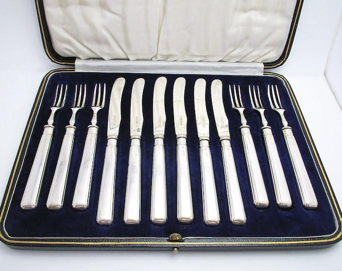 Rare Art Deco Quality Set, Solid Sterling Silver Fruit/Starter/Cake/Dessert Serving Knives & Forks Antique Cutlery, with Original Box.