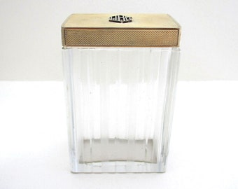 Asprey & Co. Solid Sterling Silver 9ct Gold Monogram English Art Deco Dressing Table Lidded Top Cut Glass Bottle/Jar/Pot/Container.
