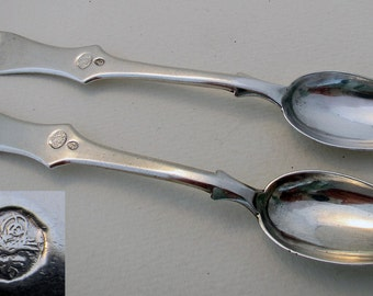 Turkish (c1910) Ottoman Empire Tughra Persian Islamic Antique Solid SIlver .900 Pair Large Tea Spoons