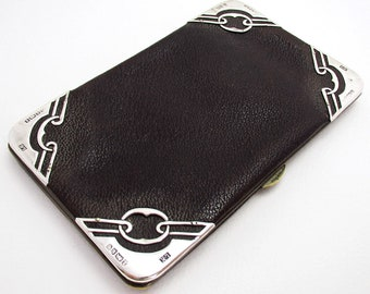 Rare Arts & Crafts (1901) Antique Solid Sterling Silver Leather Wallet Purse Pocket Coin Stamp Card Case.