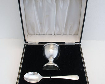 Birmingham Hallmarked Solid Sterling Silver Egg Cup Cruet & Spoon with Box, Cased, Mid 20th-Century.