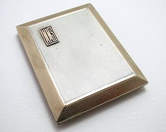 Asprey & Co (1928) Solid Sterling Silver GILT Gold Wash Slide-Action Sliding Match Book Box of Cigarette Case shape. English Art Deco.