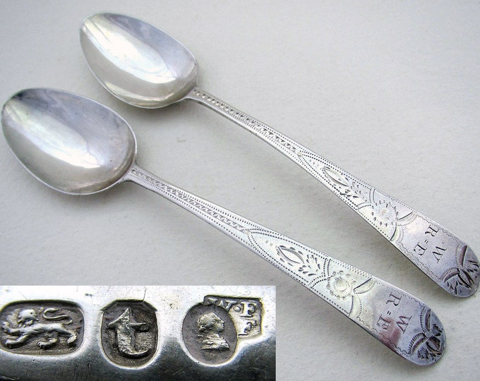Pair early (1794) George III Solid Sterling Silver Bright-cut Georgian Antique Tea Spoons, William & John Fisher, Old English pattern.