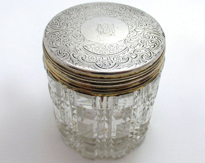 Antique Victorian (1863) Solid Sterling Silver Gilt Lidded Top & Cut Glass Vanity Trinket Dressing Table Box Jar Pot Bottle Container.