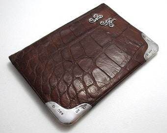 Monogram 'SM', Victorian (1894) Solid Sterling Silver Mounted Crocodile Skin Leather Antique Wallet Purse Name Note Card Stamp Case.