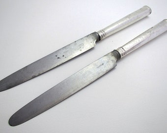 "Rare 1792 Large Pair 11"" Georgian/George III Sterling Silver & Steel Antique Large Table/Dinner Knives, English Sheffield Cutlery."