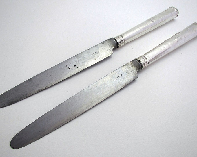 """Rare (1792) Large Pair 11"""" Georgian/George III Sterling Silver Antique Large Table/Dinner Knives, Robert Trickett English Sheffield Cutlery."""