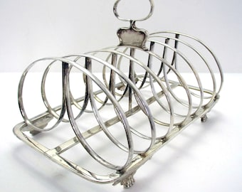 "Quality Large 7"" Wide Georgian Solid Sterling Silver Antique Toast Rack, English Regency 1825 Hallmarked."
