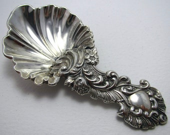 Large and Heavy Victorian Antique Solid Sterling Silver ROCOCO Tea Caddy Spoon, Martin, Hall & Co. English Sheffield Hallmarked.