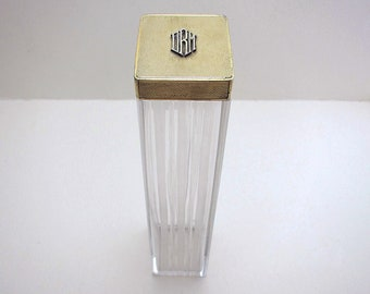 Asprey & Co. Solid Sterling Silver 9ct Gold Monogram English Art Deco Dressing Table Lid Top Cut Glass Hatpin Tall Bottle/Jar/Pot/Container