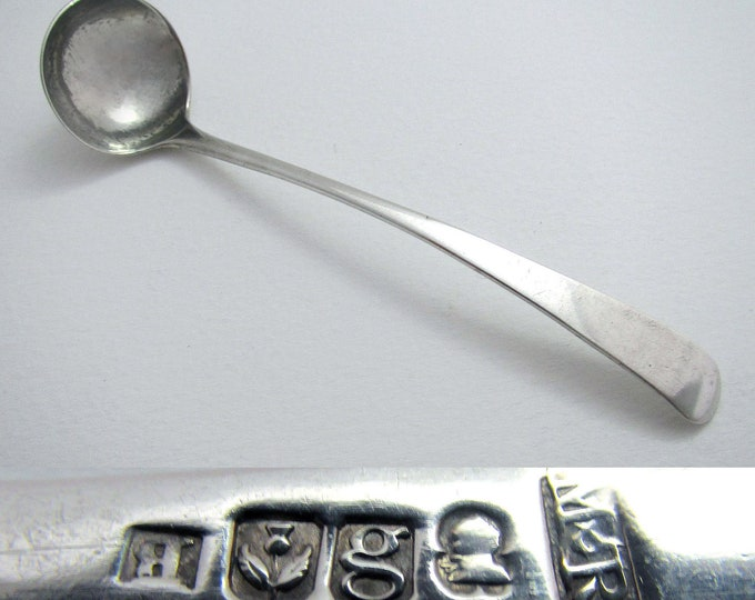 Scottish Georgian/George III (1812) Solid Sterling Silver Antique Salt Mustard Pot Condiment Ladle Spoon. Mitchell & Russell.