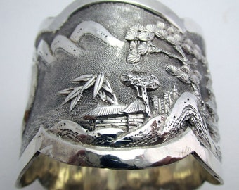 Chinese Export WOSHING (c1880) Solid Sterling Silver Napkin Ring, Rare Shan Shui Scene, 19th-Century.