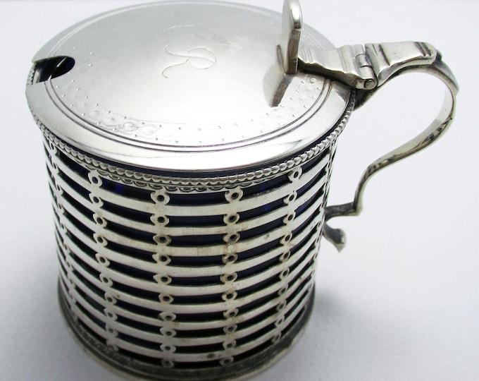 Antique Edwardian (1902) Large Solid Sterling Silver & Blue Glass Liner Pierced Mustard Pot Cruet. English Hallmarked.