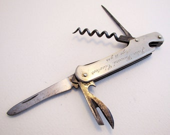 "Sheffield Vintage (1957) Stainless Steel Multi Tool Bladed Pocket Folding Sportsman Jack Clasp Knife. Inscribed ""Anns Road School.."""