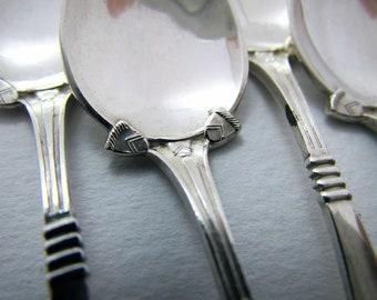 Dutch ART DECO, Monoram 'W', c1930 Solid Silver Coffee/Demitasse/Tea Spoons, SET of 6. Netherlands Vintage.