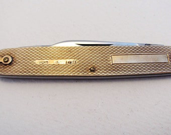 Rare Asprey & Co. 9 Karat .375 Solid Gold Double Folding Pocket Pen Knife Quill Cutter Penknife. 20th-century.