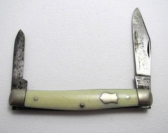 Antique (c1900) Carbon Steel Quality IXL GEORGE WOSTENHOLM Twin Bladed Folding Penknife Fruit Pen Jack Knife. Sheffield England.
