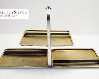 Very Rare (1920s) Solid Silver Cigarette Box 3-Compartment Display Tray Case. Scandinavian/Norwegian/Swedish