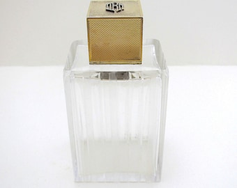 Asprey & Co Solid Sterling Silver 9ct Gold Crest English Art Deco Dressing Table Lidded Top Glass Scent Perfume Cologne Bottle-Medium size