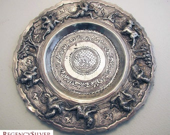 Rare BURMESE Antique (c1890) Solid Sterling Silver Repousse Dish Bowl (Cobra, warrior, Chinthe, hunting scene). 19th-century.