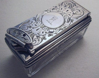Beautiful Antique Victorian English c.1843 Sterling Silver Travelling Inkwell Box Ink Well. Frances Douglas. 19th-Century.