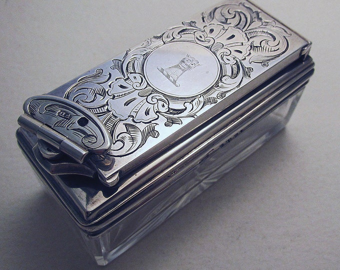 Featured listing image: Beautiful Antique Victorian English c.1843 Sterling Silver Travelling Inkwell Box Ink Well. Frances Douglas. 19th-Century.