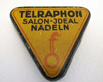German Triangular Gramophone Needle Tin Case Box TELRAPHON SALON-JDEAL Nadeln. Early 20th-Century. Antique/Vintage.