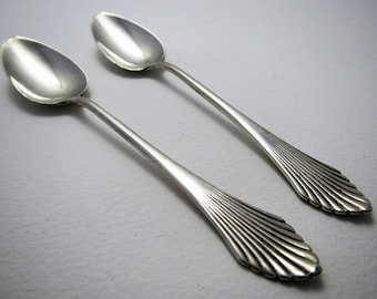Superb PAIR of Dutch (c1930) Art Deco Solid SILVER Tea/Coffee Spoons. Netherlands Vintage.