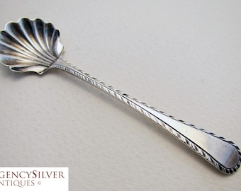 Rare 18th-Century (c1750) Georgian Solid Sterling Silver English Antique Salt/Condiment Spoon. George II/III. Feather Edge pattern.