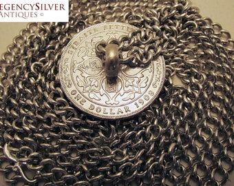 Rare Chinese Peranakan STERLING SILVER Coin Belt. Edward VII Straits Settlements One Dollar